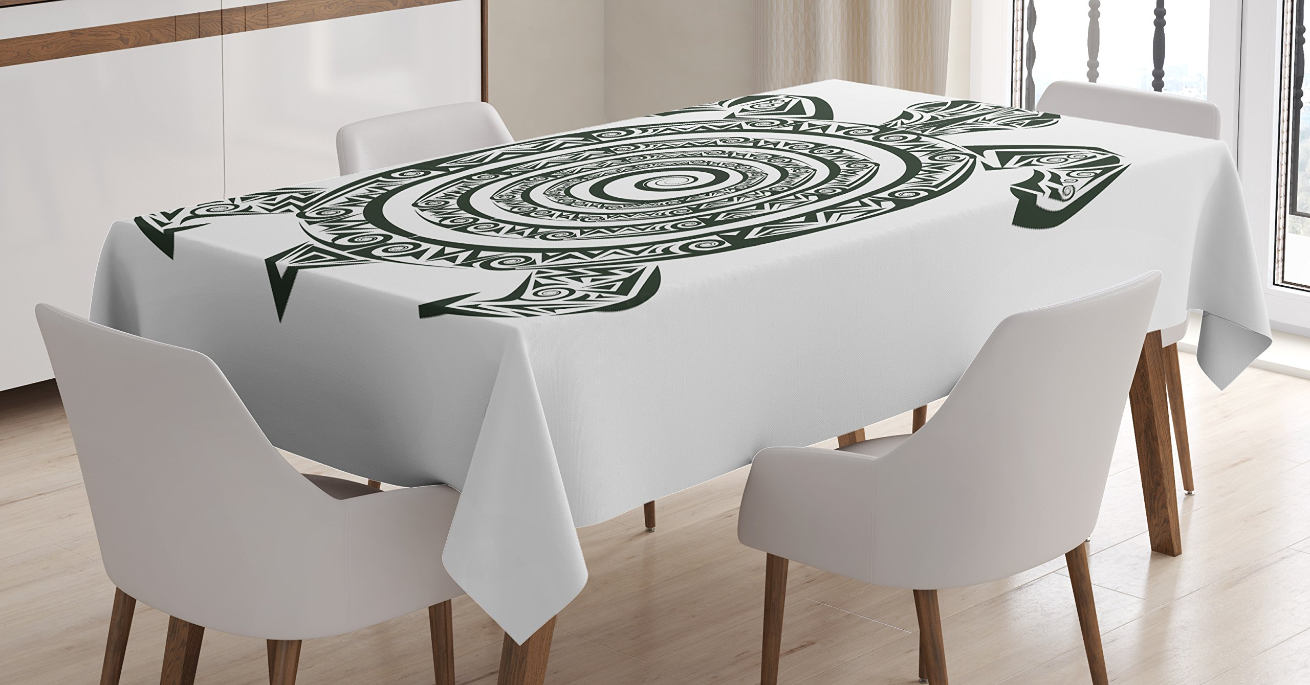 Ambesonne Turtle Tablecloth, Maori Tattoo Style Figure of Sea Animal Tribal Spiral Form Ancient Tropical, Dining Room Kitchen Rectangular Table Cover, 60 W X 84 L inches, Black and White