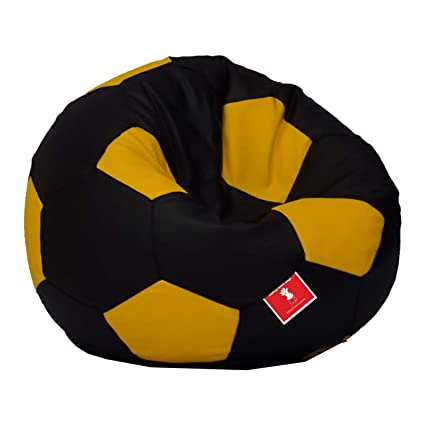 Comfy Bean Bags Football XXXL Bean Bag Without Fillers Cover (Black and Yellow)