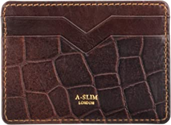 A-SLIM Yaiba - Leather Card Holder - Slim Cardholder with 4 Card Slots and a Central Pocket (Croco Brown)