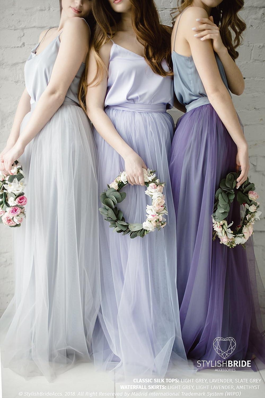 37b07a03da Amazon.com: Silk Grey Lavender Bridesmaids Classic Dress Tulle Skirt, Long  Floor Length Waterfall Tulle Skirt, Prom Simple Lavender Dress, Silk Cami  Top: ...