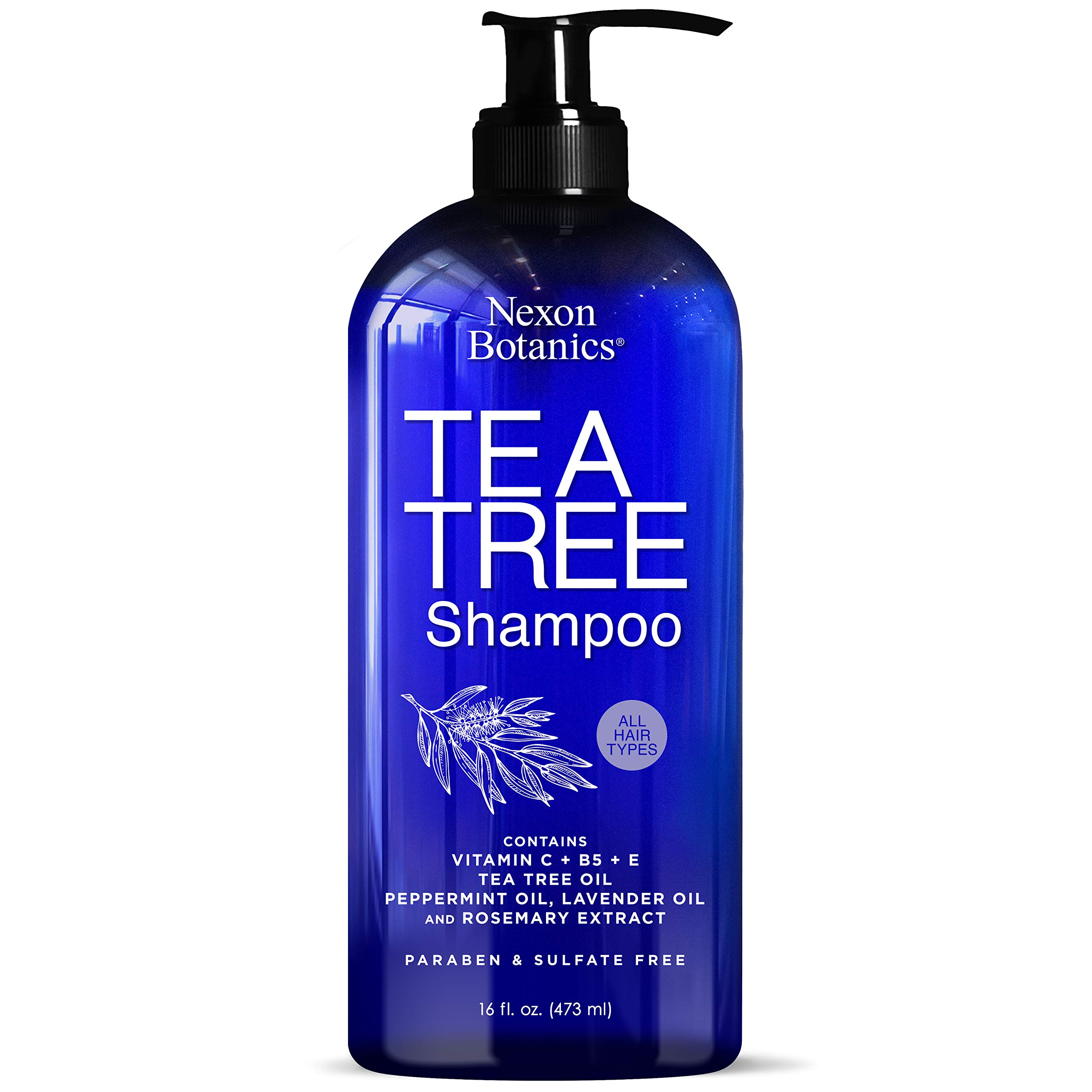 Nexon Botanics Tea Tree Shampoo 16 fl oz - Special Tea Tree Oil Shampoo for Dry, Itchy Scalp, Dandruff - Includes Natural and Pure Lavender, Peppermint, Tea Tree Oils - Sulfate Free and Paraben Free by Nexon Botanics