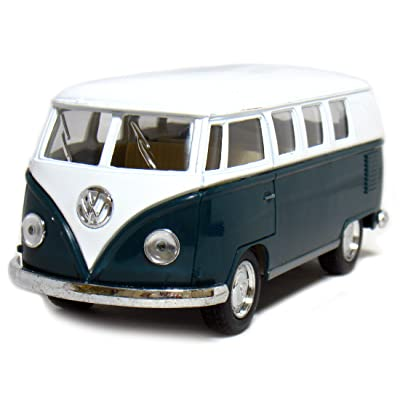 "5"" Die-cast 1962 VW Classic Bus 1/32 Scale (Green), Pull Back n Go Action.: Toys & Games"