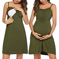 Ekouaer Women's Nursing Nightgown Maternity Dress Breastfeeding Gown Full Slips Sleepwear