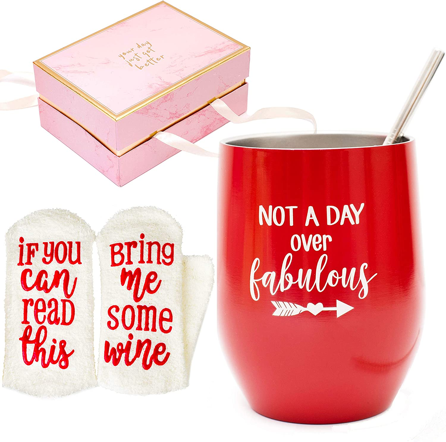 Birthday Christmas Gifts For Women Aunt Coworker Friend Female Her Mother Sister Daughter Mom Wife Grandma Secret Santa Gifts Ideas Double Insulated Wine Tumbler 12 Oz And Funny Socks Amazon Ca Home
