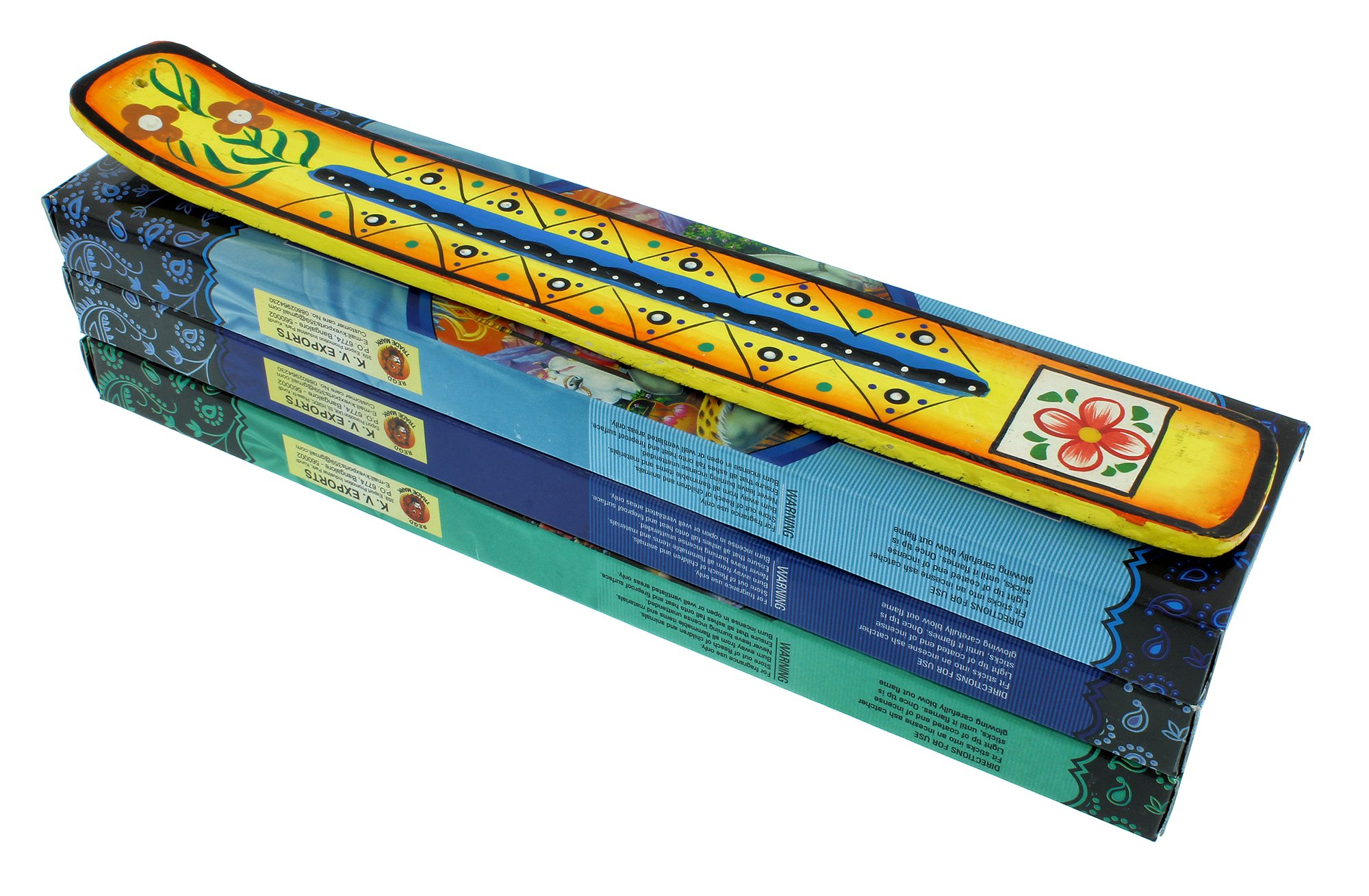 Zen Mood Incense Gift Pack - 3 Boxes of Assorted Indian God Incense and 1 Hand Painted Incense Holder with Flower Design - Yellow