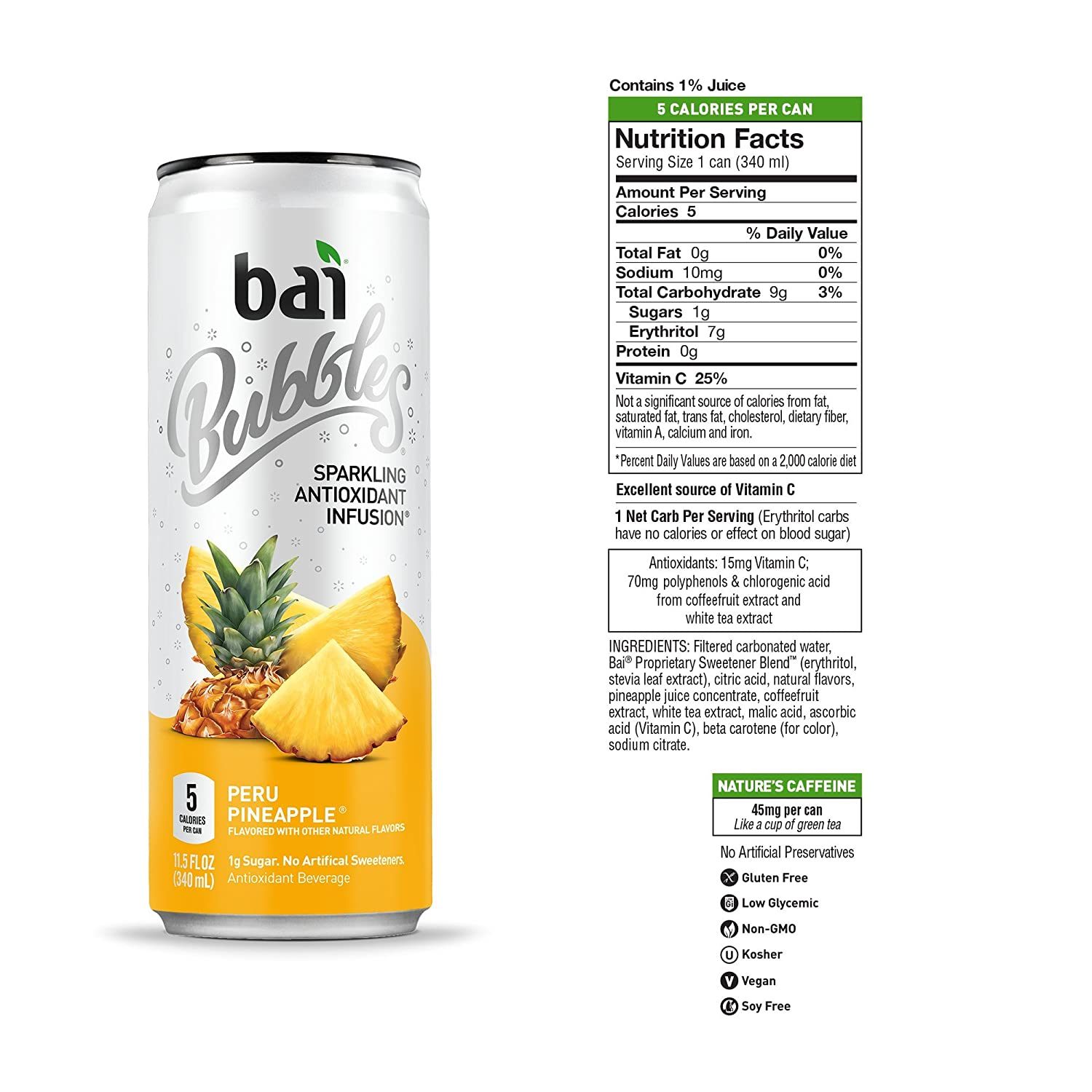 Bai Bubbles, Sparkling Water, Peru Pineapple, Antioxidant Infused Drinks,  11 5 Fl  Oz Cans, 12 count