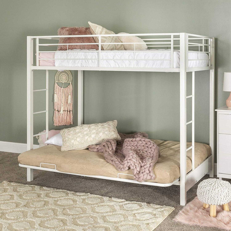 Amazon Com Home Accent Furnishings Sunrise Metal Twin Over Futon Bunk Bed In White Furniture Decor