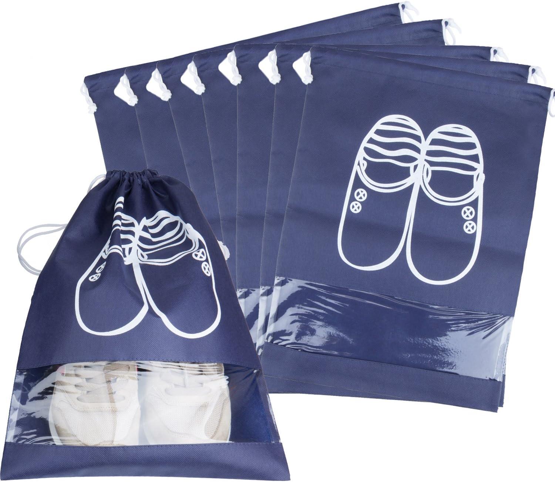 10 Pack Bolsas para Zapatos, ZWOOS Bolsa Impermeable Telas no Tejidas con Ventana Transparente con Dibujar Cadena de Lazo para Botas, Tacón Alto, Zapatos y Sandalias