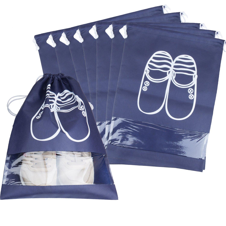10 Stück Schuhbeutel mit Zugband, ZWOOS Staubdichter Reisen Schuh Veranstalter Tasche mit Visual Fenster für Stiefel, High Heel, Schuhe und Sandalen