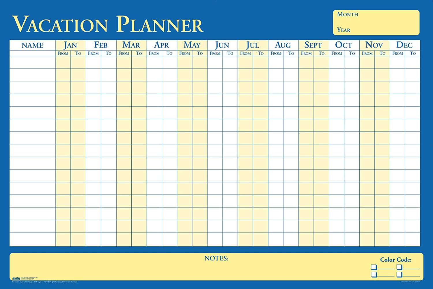 House of Doolittle Plan-A-Board Vacation/All-Purpose Laminated Planner Reversible 36 x 24 Inch (HOD639)
