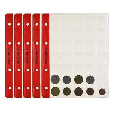 10 Feuilles pour collection de pièces de monnaie, 27mm X 27mm (pour classeur M). 35 Pochettes pour monnaies jusqu'à 23 mm de diamètre.