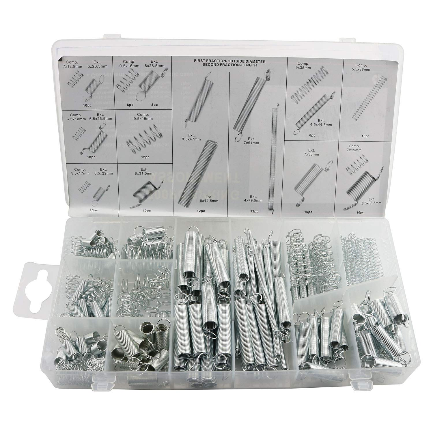 Magic&shell 200 PCS Small Metal Loose Steel Coil Springs Extension Springs and Compressed Spring Assortment Kit Assorted with A Transparent PlasticCase 20 Kinds