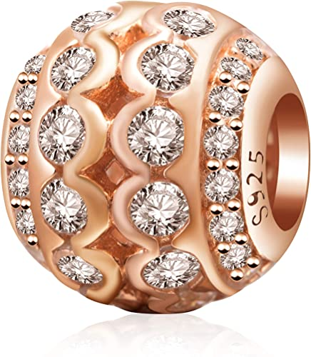 Gift Bag Rose Gold Sparkling Butterfly Charm Bead fits European Charm Bracelet
