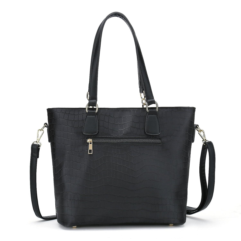 d1b95ef7b9b5 Women Shoulder Handbag for Work Purse 6 Piece Set Bag (Black-3)  Handbags   Amazon.com