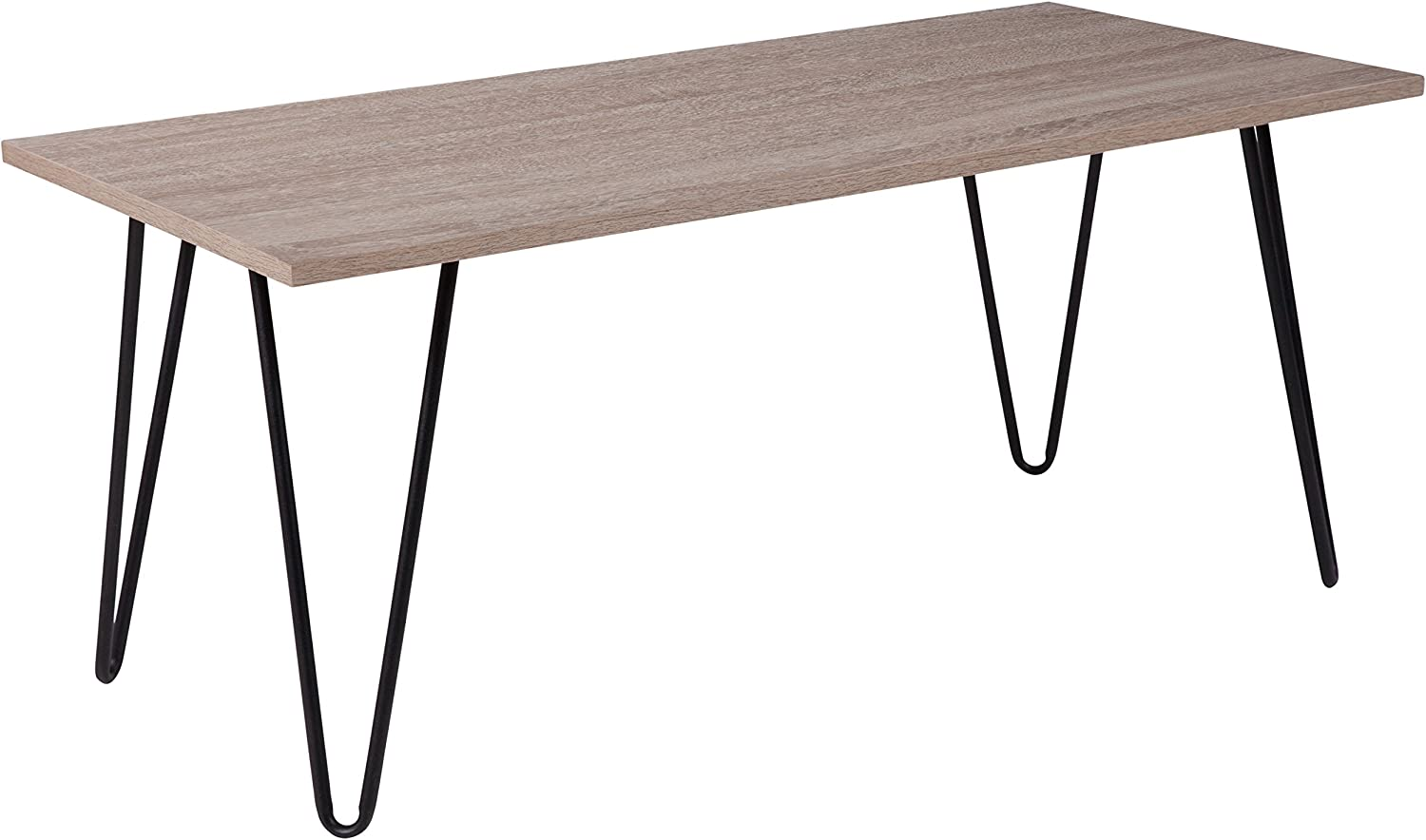 Flash Furniture Oak Park Collection Driftwood Wood Grain Finish Coffee Table with Black Metal Legs