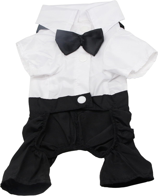 QiCheng & LYS Ropa para Perros Traje Elegante con Estilo de Corbata de moño, Camisa de Esmoquin Formal con Traje de Corbata Negra (S)