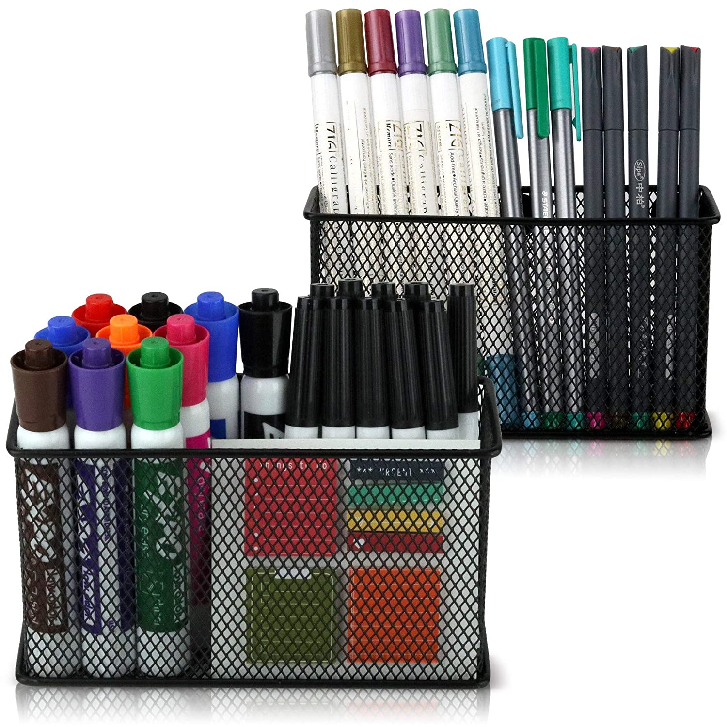 Large Magnetic Pencil Holder Set of 2 - Mesh Storage Baskets with Extra Strong Magnets - Perfect Marker and Pen Organizer Set Holds Securely Your Whiteboard and Locker Accessories