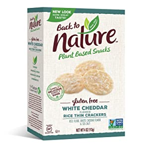 Back to Nature Gluten Free Crackers, Non-GMO White Cheddar Rice Thins, 4 Ounce (Packaging May Vary)