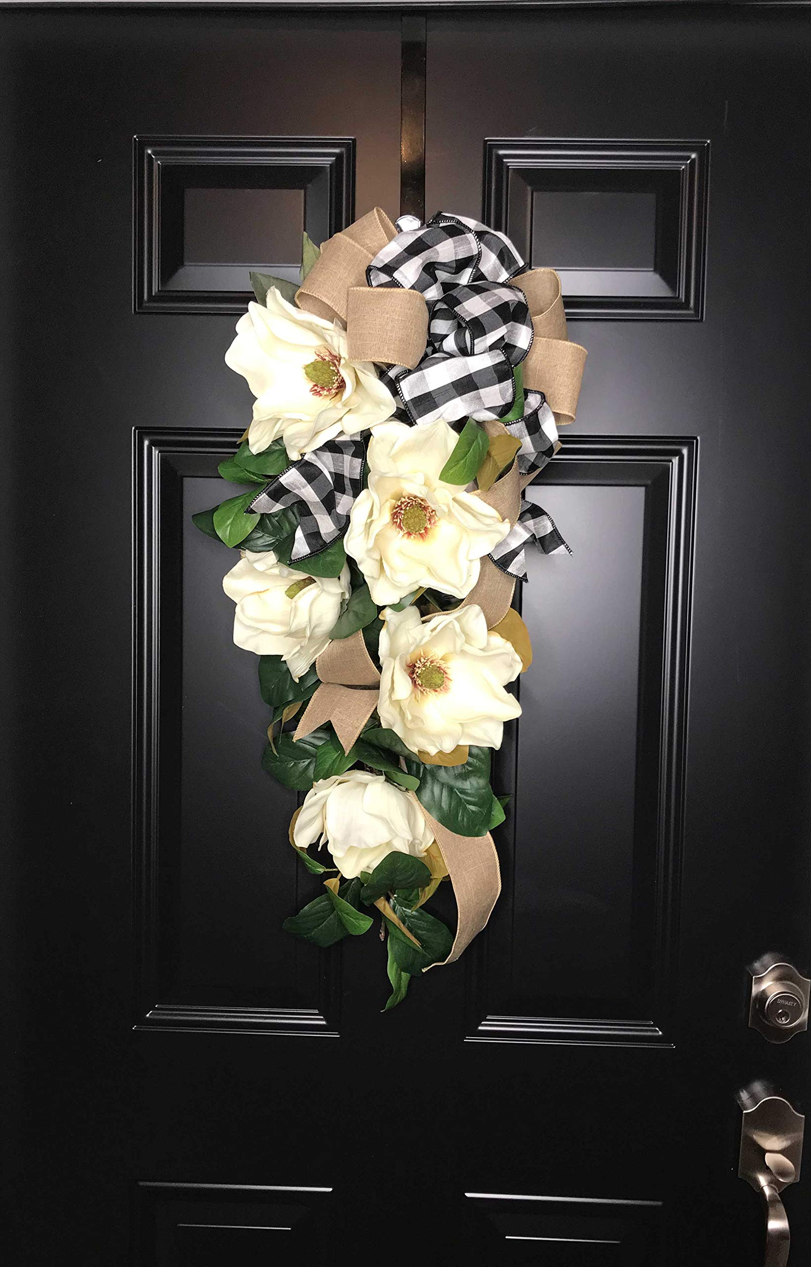 Large Southern Magnolia Teardrop Floral Swag Wreath w/Buffalo Plaid/Check Bow for Front Door Porch Indoor Wall Farmhouse Decor Spring Springtime Summer Summertime Year Round, Handmade, 30''L x 18'' W by Wreath and Vine, LLC (Image #2)
