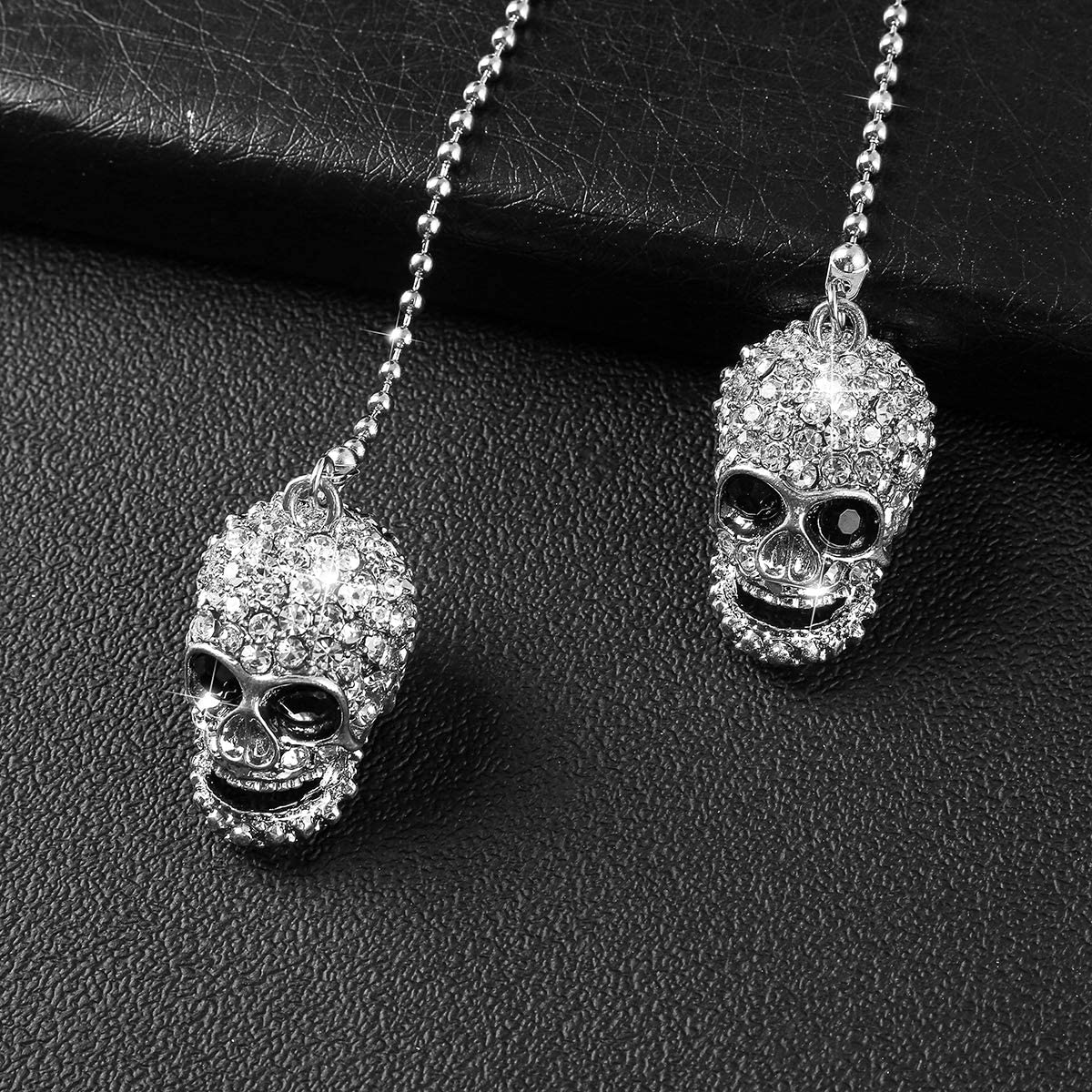 Alotex Bling White Skull Car Accessories Pair of Skull Hanging Charms for Rear View Mirror Lucky Car Decoration Interior Ornament Pendant (White Skull)