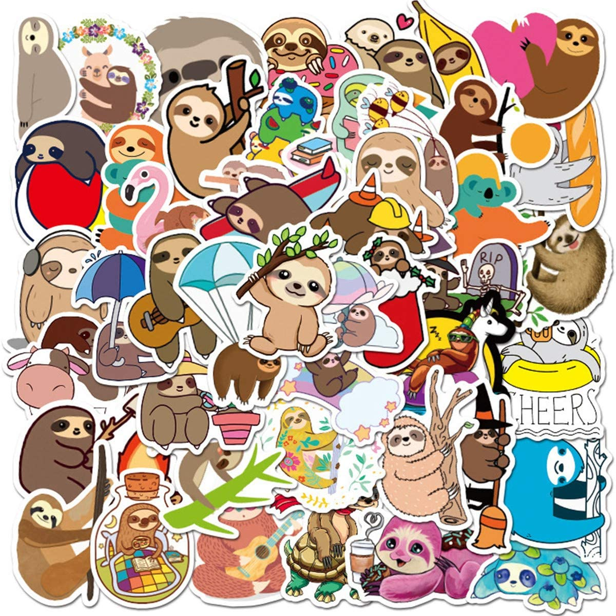 50Pack Cute Cartoon Sloth Stickers Set Kids Friendly Sticker Decals for Water Bottle Laptop Cellphone Bicycle Motorcycle Car Bumper Luggage Travel Case. Etc (Sloth)