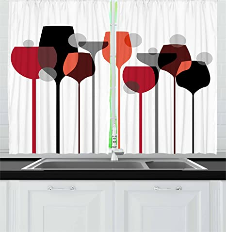 Amazon Com Ambesonne Wine Kitchen Curtains Abstract Wine Glasses Silhouettes With Dots Alcohol Drink Modern Window Drapes 2 Panel Set For Kitchen Cafe Decor 55 X 39 Black Grey Home Kitchen