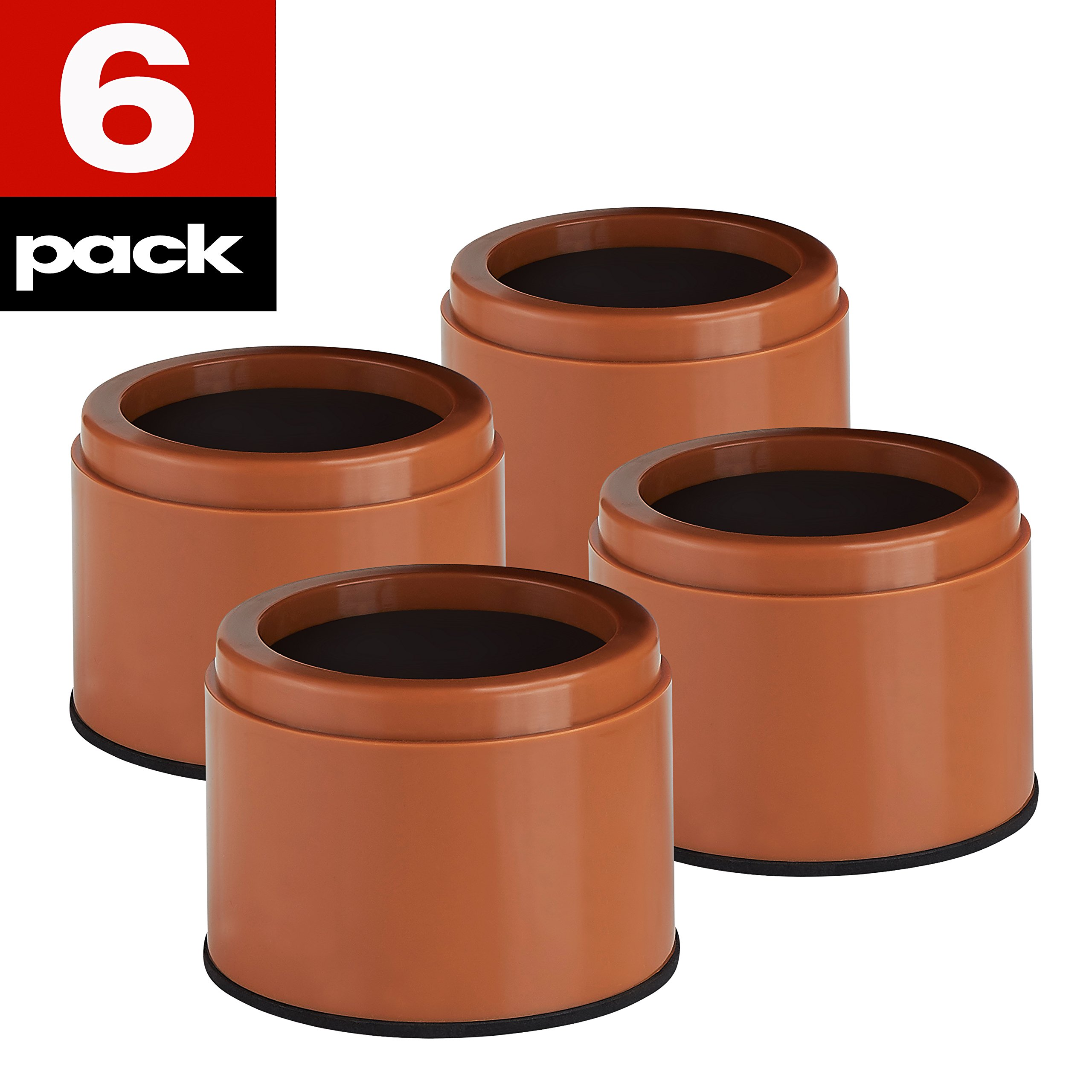 """iPrimio Bed and Furniture Risers – 6 Pack Round Elevator up to 3"""" & Lifts Up To 10,000 LBs - Protect Floors and Surfaces – Durable ABS Plastic and Anti Slip Foam Grip – NON STACKABLE – Brown"""