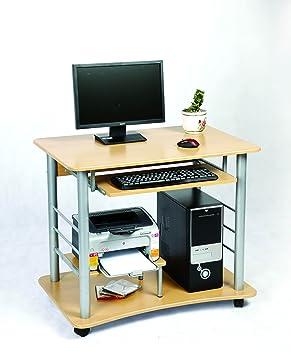 Zyon Mesa para ordenador con balda para el teclado Tablero con efecto de pino y ruedas (ordenador no incluido): Amazon.es: Hogar