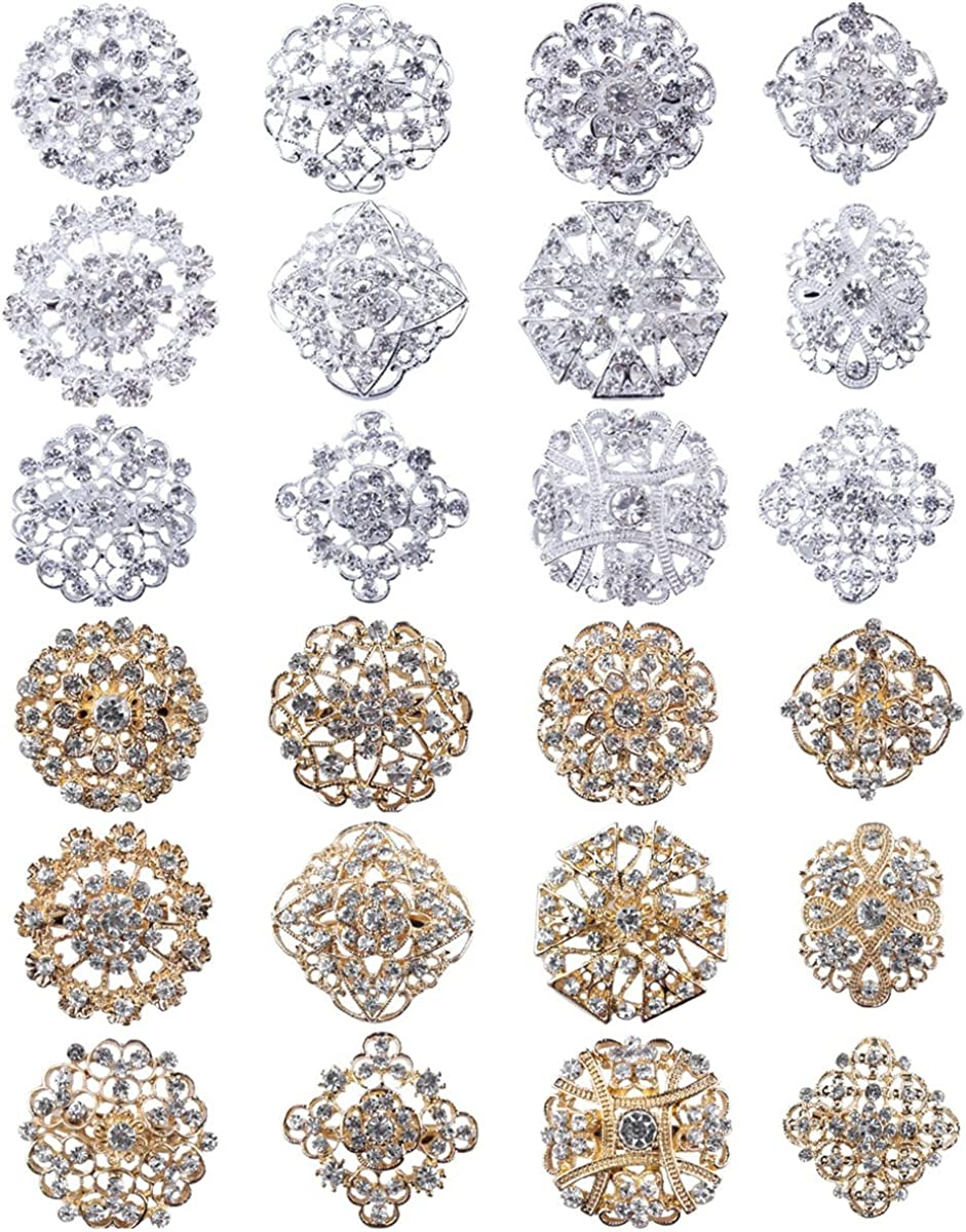 MEEJOA Lot 24pc Clear Rhinestone Crystal Flower Brooches Pins Set DIY Wedding Bouquet Broaches Kit