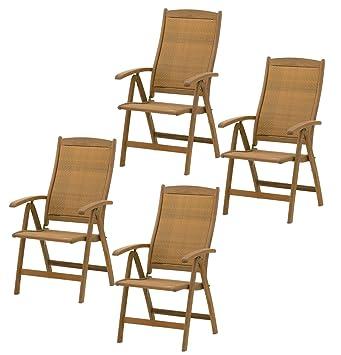 Gut 4x Belardo Hartholz Hochlehner Rattan Garten Sessel Holz Gartenstuhl  Stuhl Set ähnlich Wie Teak