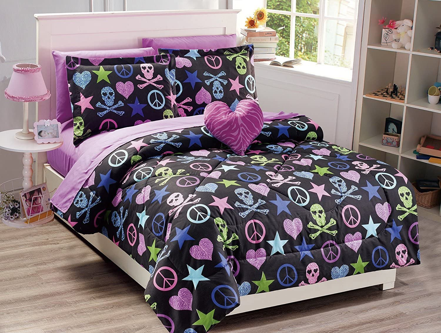 Fancy Collection 8pc Full Size Comforter Set Skulls Peace Signs Hearts Zebra Print Leopard Print Black Pink Purple Blue Green With Furry Pillow New