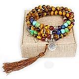 8mm Tiger Eye 108 Buddhist Prayer Beads 7 Chakra Multilayer Mala Beads Tree of Life Bracelet Necklace