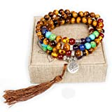 Amazon Price History for:8mm Tiger Eye 108 Buddhist Prayer Beads 7 Chakra Multilayer Mala Beads Tree of Life Bracelet Necklace