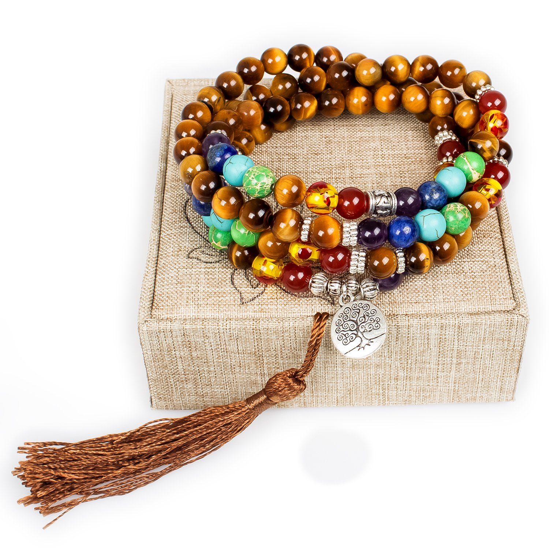 Mala Beads,108 Tiger Eye Gemstone Stone Wrist Mala Bracelet Necklace Tibetan Buddhist Prayer Bead(Tiger Eye,Tree)