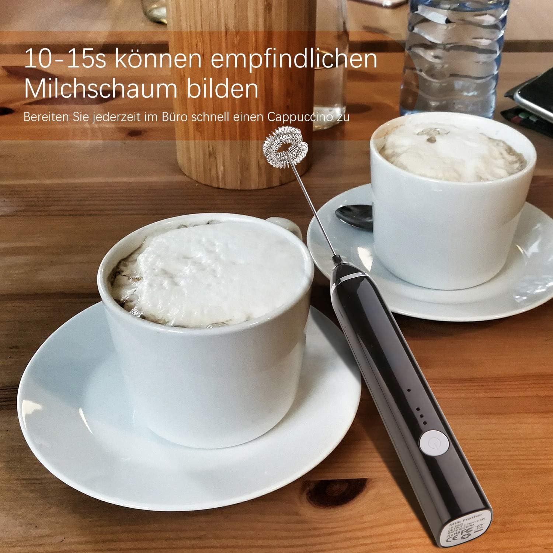 Elektrischer Milchaufschäumer,USB Wiederaufladbar Milchaufschäumer 2 in 1