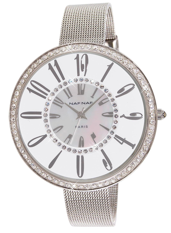 Naf Naf Damen-Armbanduhr Alyce Quarz analog Armband Stahl silberfarben N10144-201