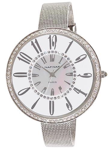 Naf Naf N10144-201 - Reloj analógico para Mujer de Acero Inoxidable nácar: Amazon.es: Relojes