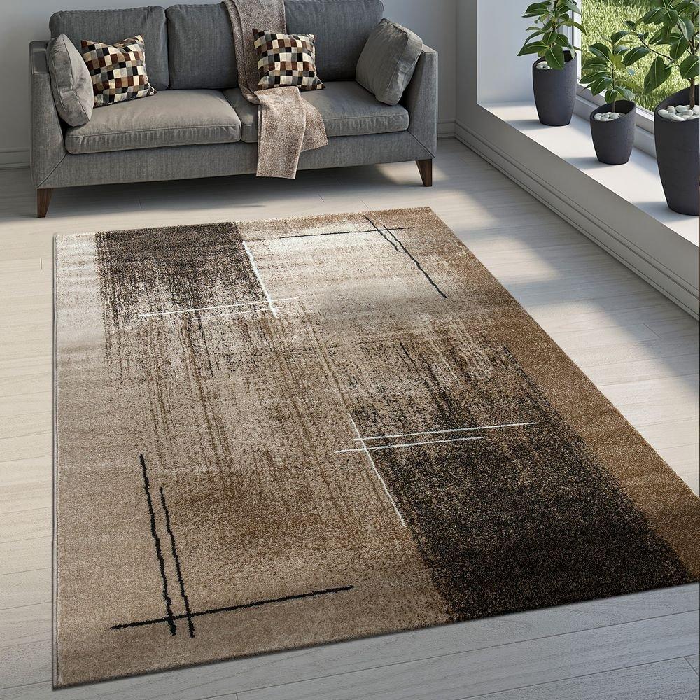 Paco Home Edler Designer Wohnzimmer Teppich Kurzflor Farbverlauf Abstraktes Muster Braun, Grösse 200x290 cm