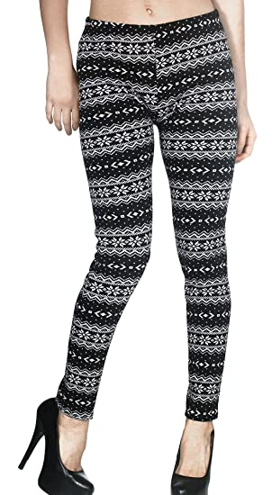 Fashion Womens Xmas Snowflake Reindeer Knitted Warm Tight Leggings