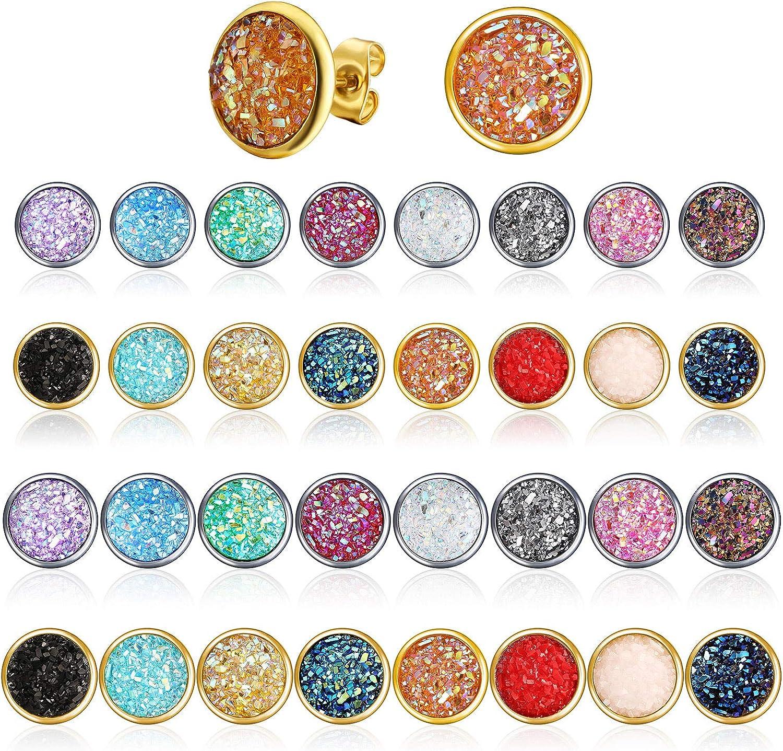 32 Pairs Druzy Stud Earrings Stainless Steel Round Stud Earrings Colorful Pierced Earrings for Women