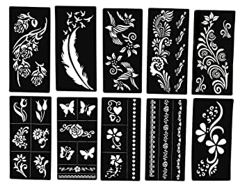 Amazon Com Tattoo Stencils Butterfly And Flowers New Henna