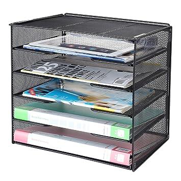 Samstar Organizador de escritorio, bandeja de papel para cartas, organizador de malla, 5 niveles, color negro.: Amazon.es: Oficina y papelería