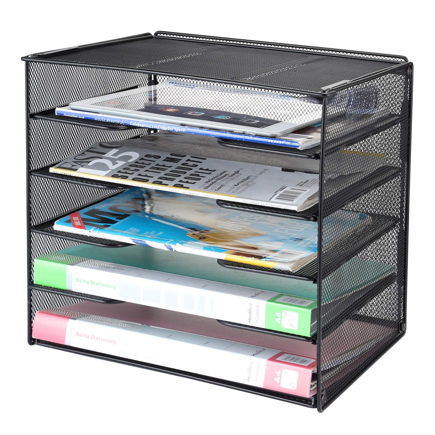 Samstar Desk Organizer, Mesh File Paper Letter Tray with 5 Stackable Trays and Sorter, Black