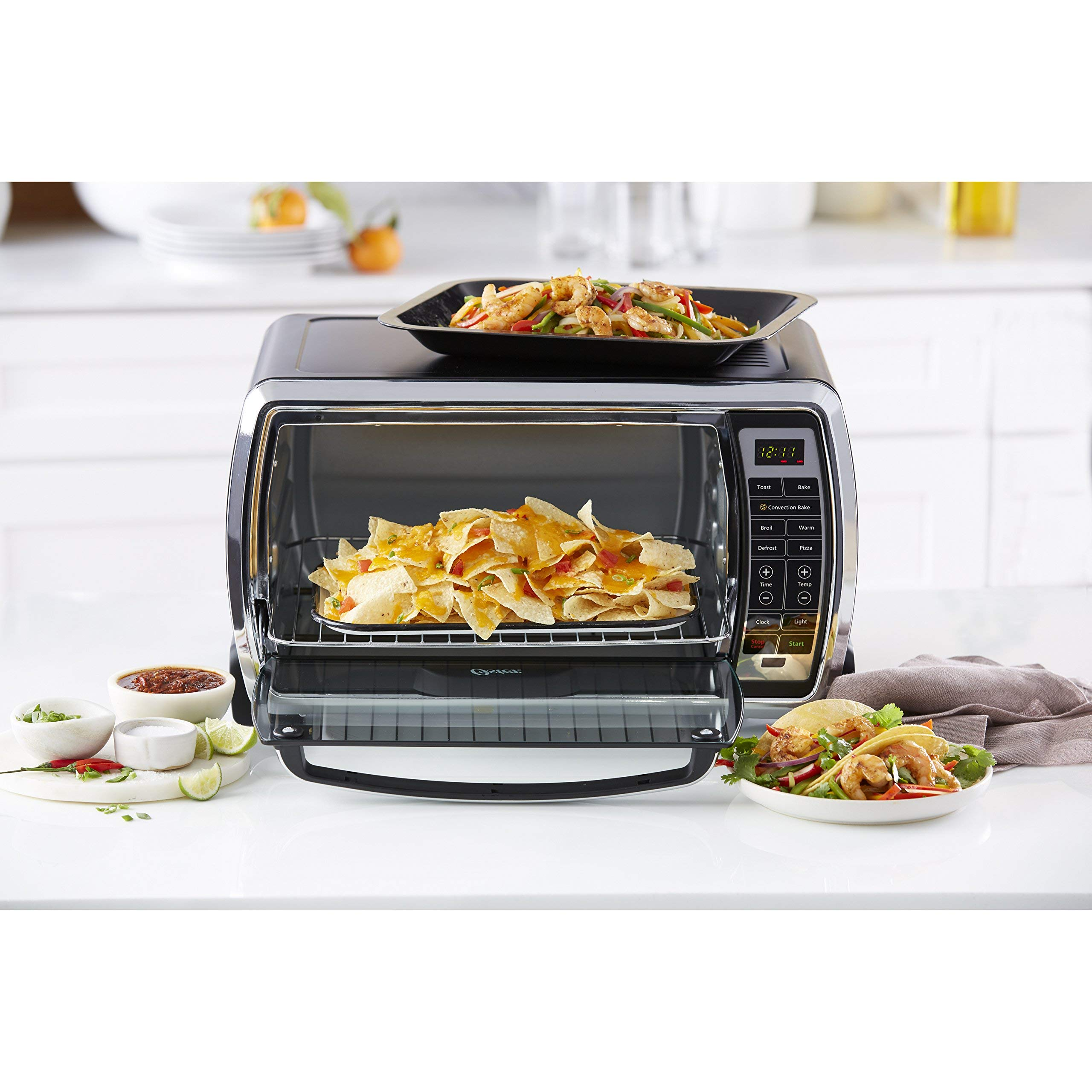 Oster Large Digital Countertop Convection Toaster Oven, 6 Slice, Black/Polished Stainless (TSSTTVMNDG-SHP-2) (Renewed) by Supportiback (Image #6)