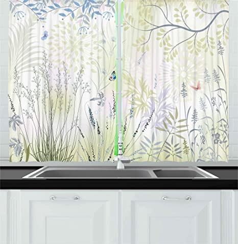 Ambesonne Nature Kitchen Curtains by, Wild Herbs and Butterfly Fern Curved  Branch Mother Earth Foliage Graphic, Window Drapes 2 Panels Set for Kitchen  ...