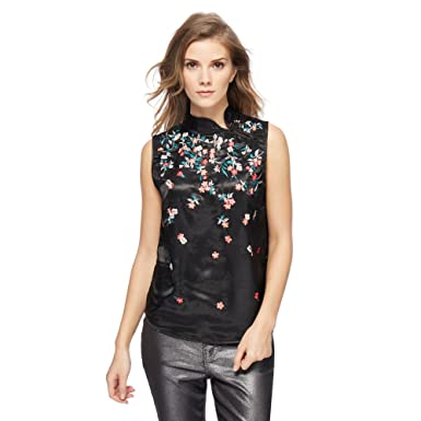 bd7b3ec2a4d Debenhams Red Herring Womens Black Satin Floral Embroidered Top 12 ...