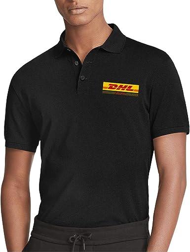 Mens DHL-Express-Logo-Symbol- Sports Black Polo Shirts Work Uniform