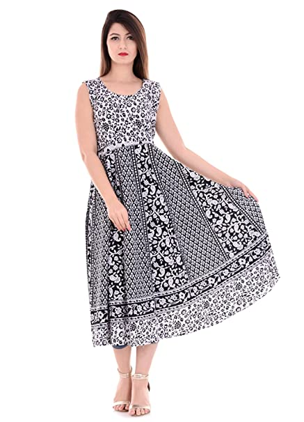 VAIDIKI Women s Cotton Maxi Dress(Black Free Size(35 To 41 Inch ... c0dc0e997