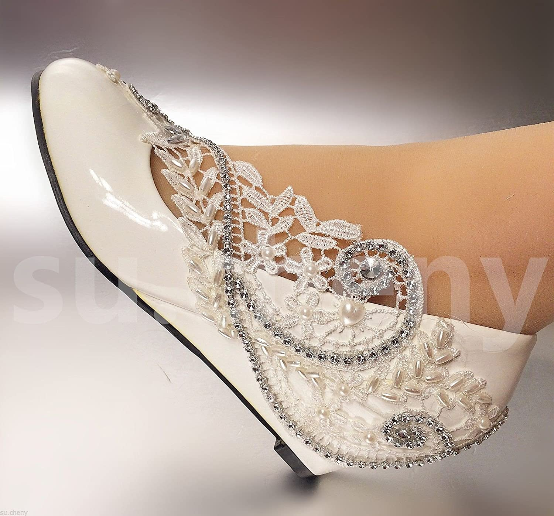 JINGXINSTORE 5cm 2  Weiß Keile Perlen Spitze Kristall Hochzeit Schuhe Braut Größe 5-11