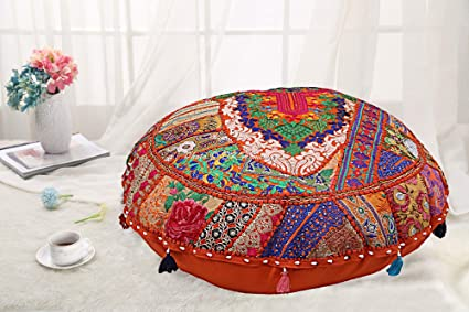 """32/"""" Indian Handmade Round Black Patchwork Home Decorative Floor Cushion Cover"""